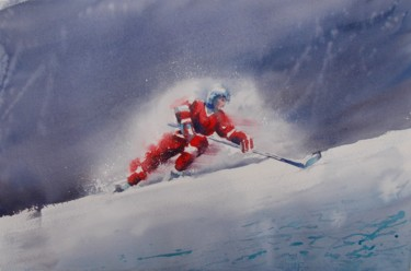 """Painting titled """"hockey player"""" by Giorgio Gosti, Original Art, Watercolor"""