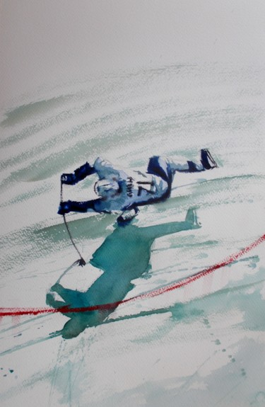 """Painting titled """"hockey player 2"""" by Giorgio Gosti, Original Art, Watercolor"""