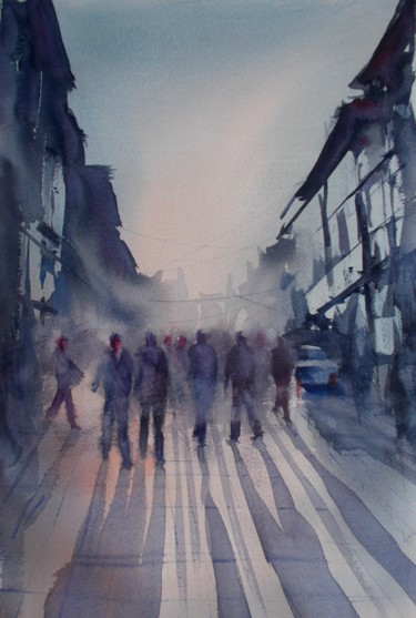 """Painting titled """"walking people 4"""" by Giorgio Gosti, Original Art, Watercolor"""