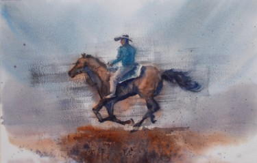 """Painting titled """"cowboy 5"""" by Giorgio Gosti, Original Art, Watercolor"""
