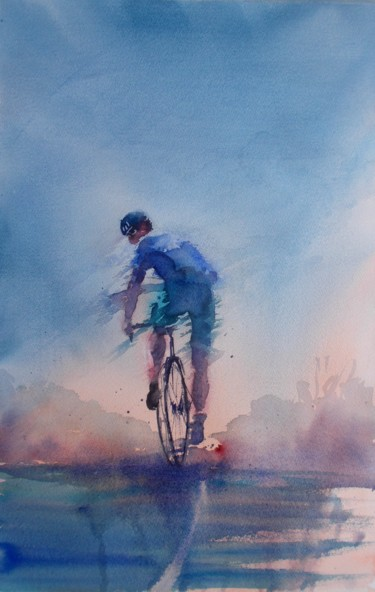 """Painting titled """"cycling 9"""" by Giorgio Gosti, Original Art, Watercolor"""