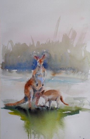 """Painting titled """"mother and son 6"""" by Giorgio Gosti, Original Art, Watercolor"""