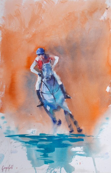 """Painting titled """"the horse race 17"""" by Giorgio Gosti, Original Art, Watercolor"""