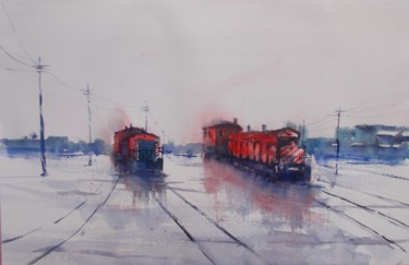 """Painting titled """"trains 21"""" by Giorgio Gosti, Original Art, Watercolor"""