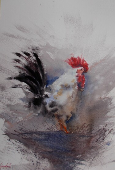 """Painting titled """"rooster 15"""" by Giorgio Gosti, Original Art, Watercolor"""