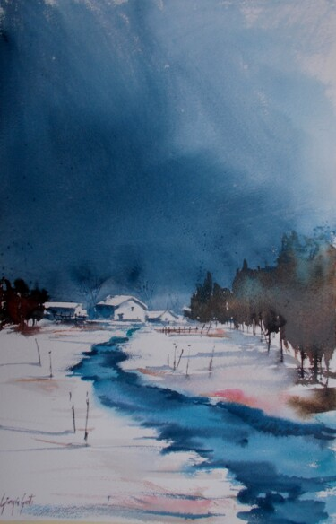 """Painting titled """"winter landscape 8"""" by Giorgio Gosti, Original Art, Watercolor"""