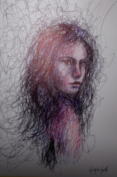 """Painting titled """"young girl 30"""" by Giorgio Gosti, Original Art, Ballpoint pen"""