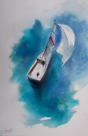 """Painting titled """"boats 60"""" by Giorgio Gosti, Original Art, Watercolor"""