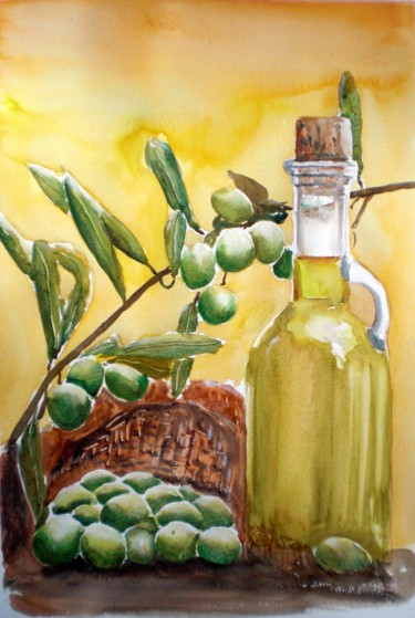 """Painting titled """"olive oil"""" by Giorgio Gosti, Original Art, Watercolor"""