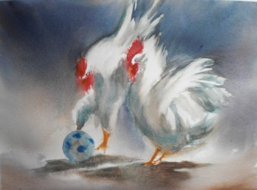 """Painting titled """"roosters"""" by Giorgio Gosti, Original Art, Watercolor"""