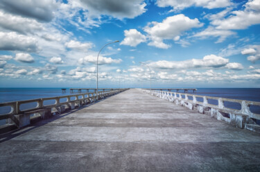 """Photography titled """"Pier on the Beach"""" by Glauco Meneghelli, Original Art, Digital Photography"""