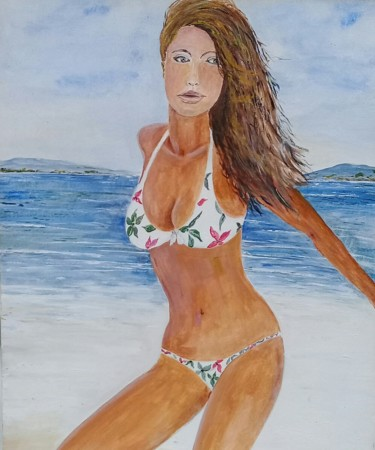 """Painting titled """"Woman at the Beach"""" by Glauco, Original Art, Acrylic"""