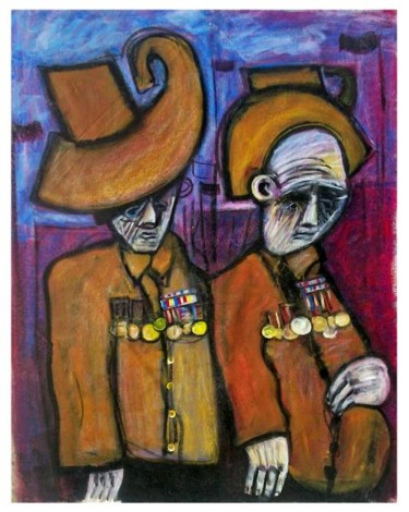 """Painting titled """"old soldiers on ANZ…"""" by Glenn Brady, Original Art,"""