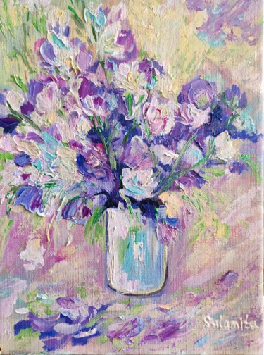 """Painting titled """"Flowers."""" by Sulamita Sulamita, Original Art, Oil Mounted on Cardboard"""
