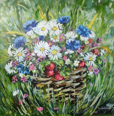 """Painting titled """"Meadow."""" by Sulamita Sulamita, Original Art, Oil Mounted on Stretcher frame"""