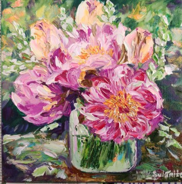 """Painting titled """"Flowers 2."""" by Sulamita Sulamita, Original Art, Oil Mounted on Stretcher frame"""