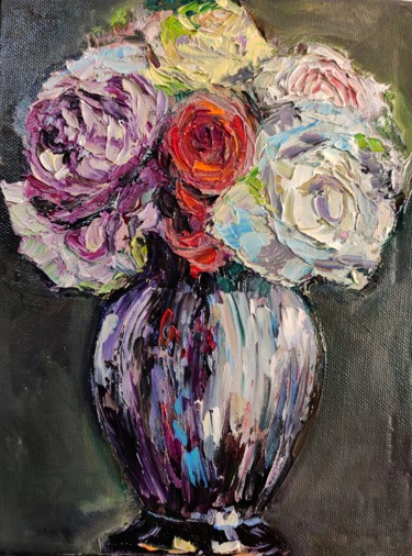 """Painting titled """"Floral 3"""" by Sulamita Sulamita, Original Art, Oil Mounted on Cardboard"""