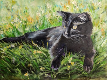 """Painting titled """"Cat"""" by Sulamita Sulamita, Original Art, Oil Mounted on Stretcher frame"""