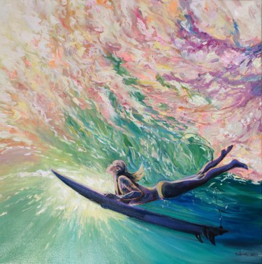 """Painting titled """"Diving into your lo…"""" by Sulamita Sulamita, Original Art, Oil Mounted on Stretcher frame"""