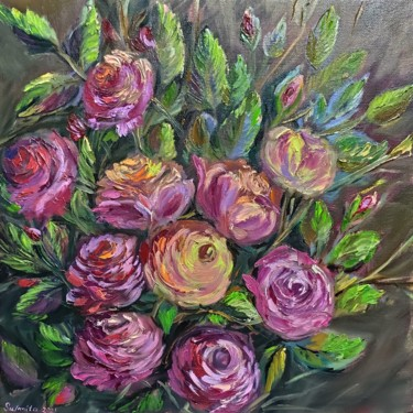 """Painting titled """"Roses 2."""" by Sulamita Sulamita, Original Art, Oil Mounted on Stretcher frame"""