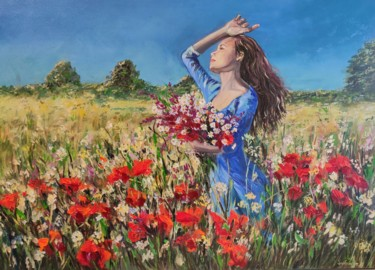 """Painting titled """"See the harvest is…"""" by Sulamita Sulamita, Original Art, Oil Mounted on Cardboard"""