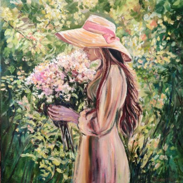 """Painting titled """"Girl with lilacs."""" by Sulamita Sulamita, Original Art, Oil Mounted on Stretcher frame"""