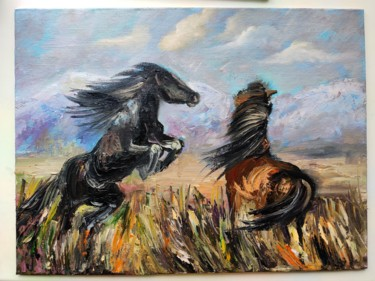 """Painting titled """"Horses."""" by Sulamita Sulamita, Original Art, Oil Mounted on Cardboard"""