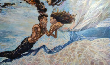"""Painting titled """"You are my sea."""" by Sulamita Sulamita, Original Art, Oil Mounted on Stretcher frame"""