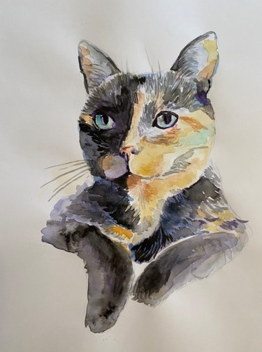 Cat Painting, watercolor, illustration, artwork by Annie Chapdelaine