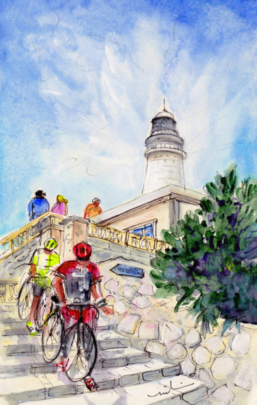"""Painting titled """"Cycling In Majorca…"""" by Miki De Goodaboom, Original Art, Watercolor"""