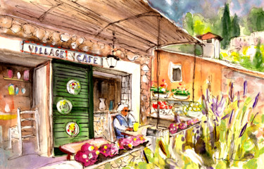 """Painting titled """"The Village Cafe In…"""" by Miki De Goodaboom, Original Art, Watercolor"""