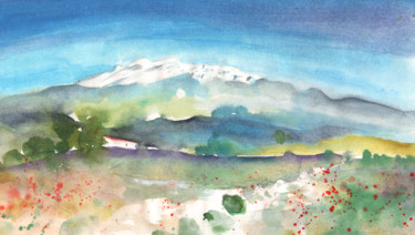 """Painting titled """"Mountains by Agia G…"""" by Miki De Goodaboom, Original Art, Oil"""