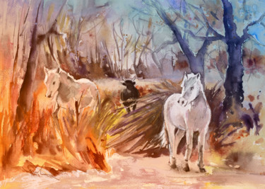 """Painting titled """"White Horses and Bu…"""" by Miki De Goodaboom, Original Art, Oil"""