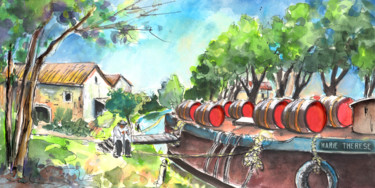 """Painting titled """"Old Wine Barge by N…"""" by Miki De Goodaboom, Original Art, Watercolor"""