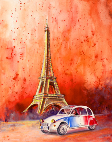 Car Painting, watercolor, expressionism, artwork by Miki De Goodaboom