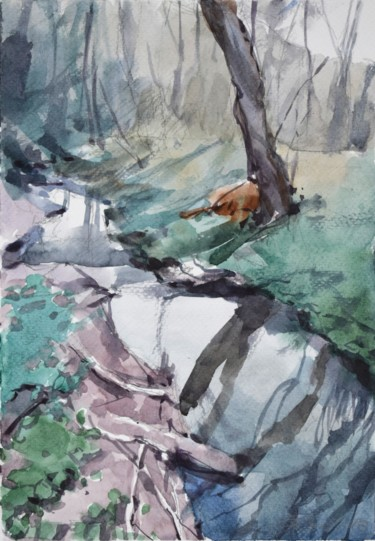 """Painting titled """"Paysage forestier (…"""" by Goran Žigolić (watercolors), Original Art, Watercolor"""