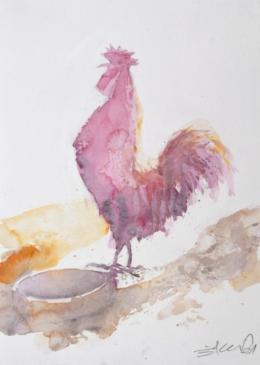 """Painting titled """"Red rooster"""" by Goran Žigolić (watercolors), Original Art, Watercolor"""