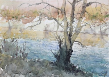 """Painting titled """"RIverscape with a b…"""" by Goran Žigolić (watercolors), Original Art, Watercolor"""