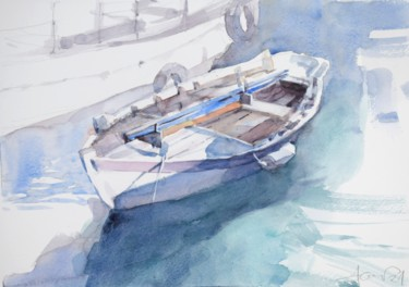 """Painting titled """"Boat in the harbour"""" by Goran Žigolić (watercolors), Original Art, Watercolor"""
