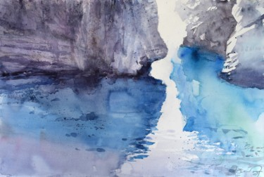 """Painting titled """"Cliffs in the sea"""" by Goran Žigolić (watercolors), Original Art, Watercolor"""