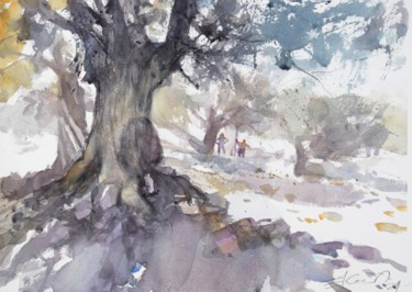 """Painting titled """"In the olive grove"""" by Goran Žigolić (watercolors), Original Art, Watercolor"""