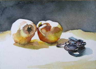 """Painting titled """"still life with qui…"""" by Goran Žigolić (watercolors), Original Art, Watercolor"""