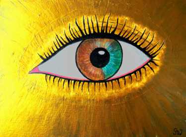 """Painting titled """"golden eye"""" by Gor Don(Gnie), Original Art, Acrylic Mounted on Stretcher frame"""
