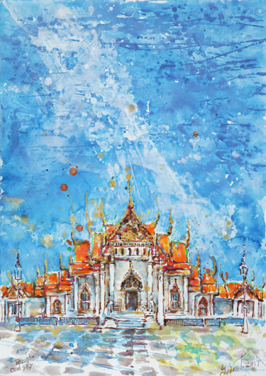 """Painting titled """"Temple and sky"""" by Gordonartist1, Original Art, Acrylic"""