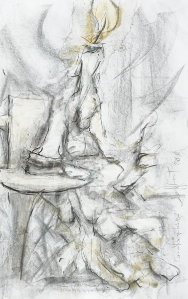 """Drawing titled """"Candle and wax"""" by Gordonartist1, Original Art, Graphite"""