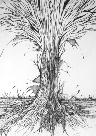"""Drawing titled """"The tree of life"""" by Graham Rhodes, Original Art, Ink"""