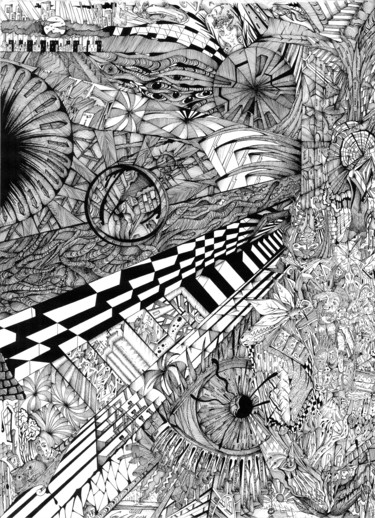 """Drawing titled """"ink chaos"""" by Graham Rhodes, Original Art, Ink"""