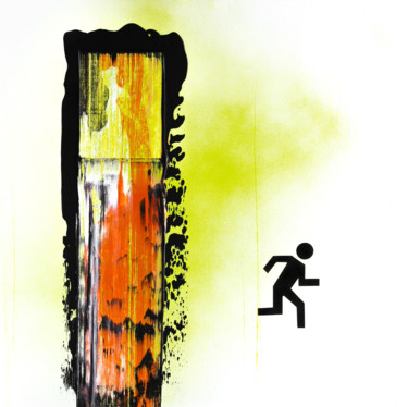 """Painting titled """"Fire exit"""" by Nikita Grazhevskiy, Original Art, Acrylic Mounted on Wood Panel"""