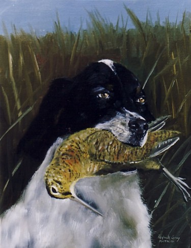 """Painting titled """"Setter with Woodcock"""" by Reginald Gray, Original Art,"""
