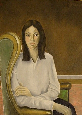 """Painting titled """"Girl in Chair"""" by Reginald Gray, Original Art,"""
